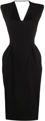 Versace Chain-Embellished Square Neck Dress