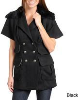 Stanzino Women's Double Collar with Faux Fur Short Sleeve Wool Blend Jacket