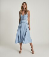 Thumbnail for your product : Reiss Alberta - Pleat Detailed Midi Dress in Blue