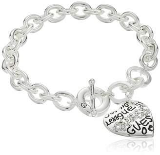"""GUESS Basic"""" Silver and Crystal Graffiti Heart Toggle Charm Bracelet"""