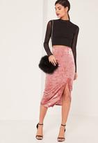 Missguided Pink Crushed Velvet Split Front Midi Skirt