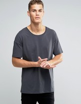 Asos Oversized Longline T-Shirt With Scoop Neck In Washed Black
