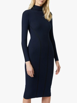 French Connection Simona Stripe Bodycon Midi Dress, Utility Blue/Black