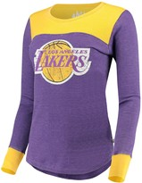 G Iii Women's G-III Sports by Carl Banks Purple/Gold Los Angeles Lakers Blindside Long Sleeve Thermal T-Shirt
