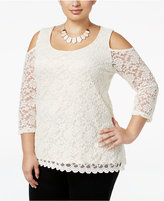 NY Collection Plus Size Cold-Shoulder Lace Blouse