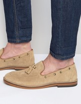Asos Tassel Loafers in Stone Suede With Natural Sole