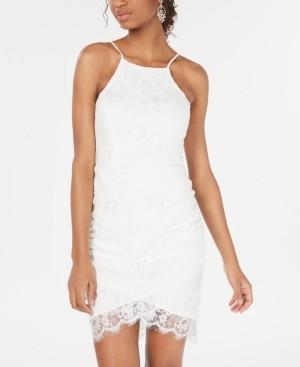 Speechless Juniors' Lace Halter Wrap Skirt Dress