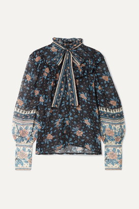 Ulla Johnson Antoine Pussy-bow Floral-print Fil Coupé Silk-blend Chiffon Blouse - Black