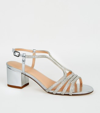 New Look Metallic Diamante Strappy Block Heels