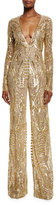 Naeem Khan Sequined Long-Sleeve Wide-Leg Jumpsuit, Gold
