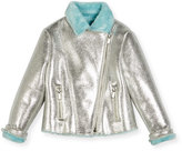 Billieblush Faux-Fur Lined Metallic Moto Jacket, Size 4-8