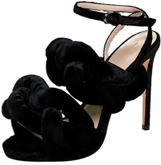 Marco De Vincenzo Marco De Vicenzo Black Velvet Braided Ankle Strap Sandals Size 35