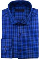 Andrew Fezza Men's Plaid Spread Collar Slim Fit Dress Shirt