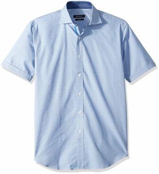 Bugatchi Mens Cotton Shaped Fit Conversational Print Short Sleeve Shirt