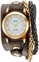 La Mer Women's 'Double Motor Chain' Quartz Gold-Tone and Leather Watch, Multi Color (Model: LMACETATECH002)