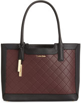 Calvin Klein Quilted-Panel Saffiano Leather Tote