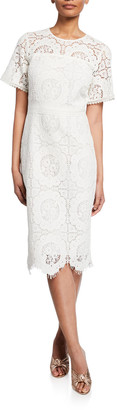 Shoshanna Marmande Short-Sleeve Scallop Lace Dress
