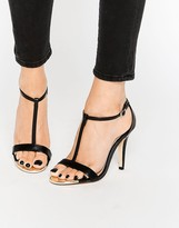 Call it SPRING Gerallan Black Patent T Bar Heeled Sandals