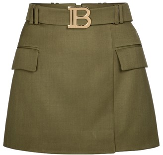 Balmain Exclusive to Mytheresa Belted wool miniskirt
