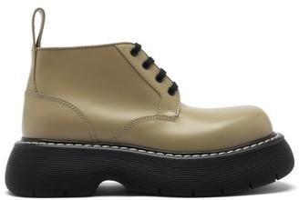Bottega Veneta The Bounce Ridged-sole Leather Boots - Khaki