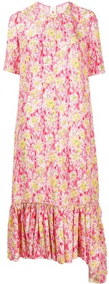 Marni Peplum Hem Floral Print Dress