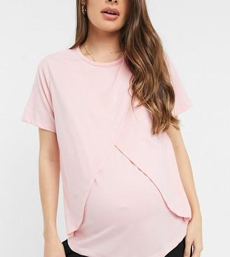 ASOS DESIGN Maternity mix & match jersey pyjama nursing tee in pink
