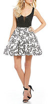 Jodi Kristopher Lace Bodice Scroll Pattern Fit-And-Flare Dress