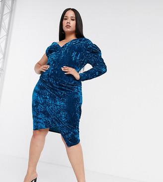 Club L London Plus one-shoulder velvet mini dress in teal
