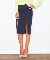 Navy Blue Front-Slit Pencil Skirt