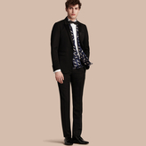 Burberry Virgin Wool Tuxedo Trousers , Size: 44, Black