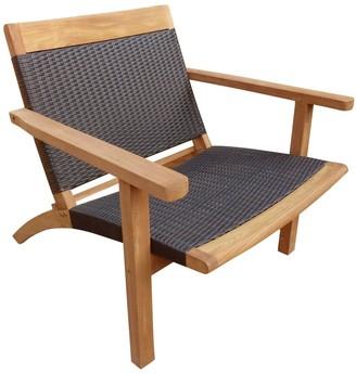 Chic Teak Barcelona Teak Wood Patio Lounge and Dining Chair, Black