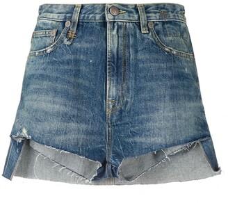 R 13 Skirted Denim Shorts