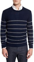 Neiman Marcus Cashmere-Cotton Striped Crewneck Sweater, Navy/Granite