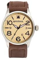 Speidel Pilot Men'S Leather Watch, Stainless Steel Yellow Face - Brown