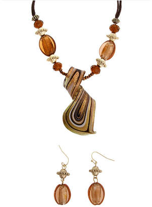Murano MIXIT Mixit Gold-Tone Brown Glass Twist Earrings & Necklace Set