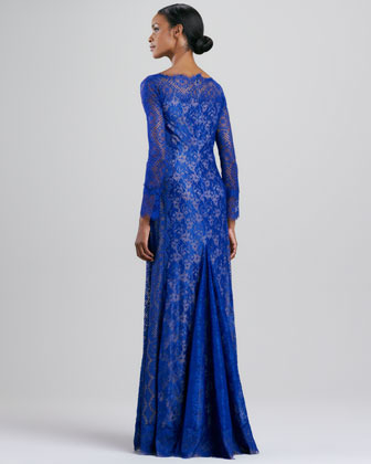 Tadashi Shoji Long-Sleeve Lace Gown