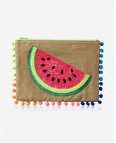 Express pom trim embellished pouch