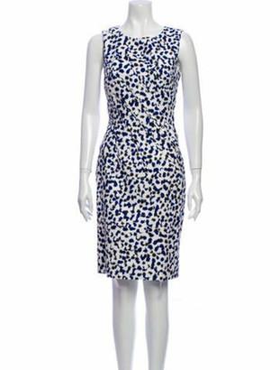 Oscar de la Renta Animal Print Knee-Length Dress Blue