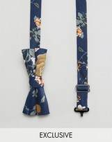 Reclaimed Vintage Inspired Floral Bow Tie In Navy