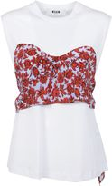 MSGM White Draped Floral Patterned Detail Top