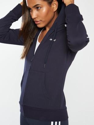 adidas Essentials 3 Stripe Full Zip Hoodie- Navy