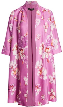 Marina Rinaldi Marina Rinaldi, Plus Size Tiara Floral Silk Overcoat