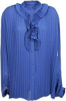 Balenciaga Blue Allover Pleated Blouse