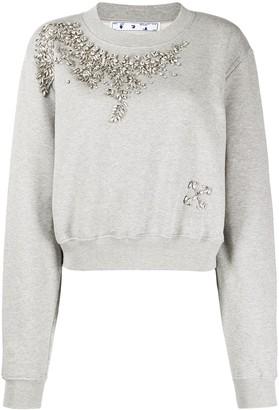 Off-White Swarovski embellished cropped sweatshirt