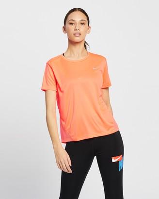 Nike Women's Orange Short Sleeve T-Shirts - Dri-FIT Miler Running Tee - Size XS at The Iconic