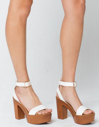 Bamboo Ankle Strap Womens White Heels