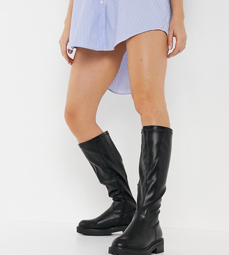 New Look Wide Fit chunky stretch leather-look knee-high boots in black