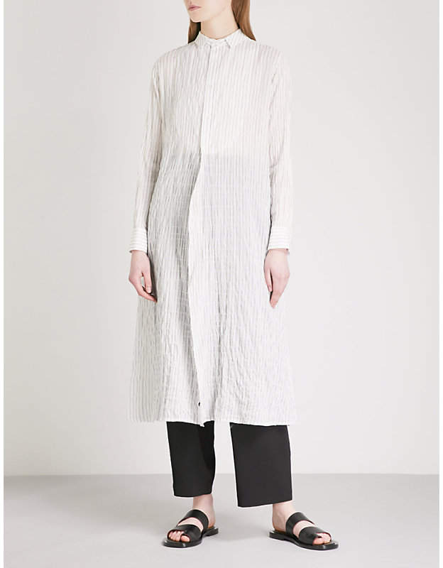 Y's Ys Striped cotton-blend shirt dress
