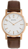 Bulova Mens Rose Gold and Leather Dress Watch