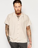 Asos Camel Shirt With Revere Collar And Elasticated Hem In Regular Fit